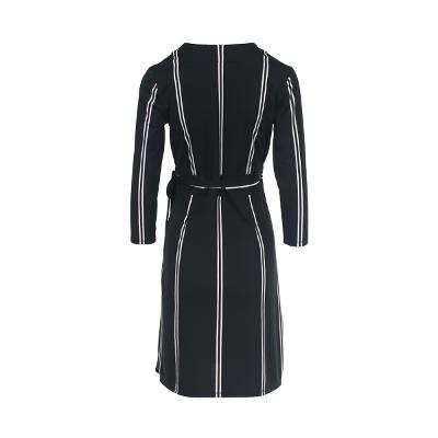 stripe pattern wrap dress black